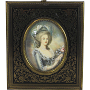 19th C Miniature Portrait of Marie Antoinette Beautiful Frame