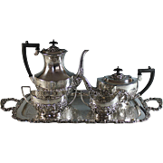 Antique English Sheffield Silverplate Tea Coffee Set Tray Silver Plate
