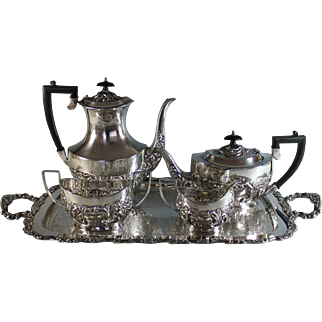 Antique English Sheffield Silverplate Tea Coffee Set Tray Silver Plate