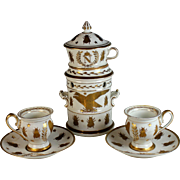 Antique French Napoleonic Empire Chocolate Set with Cups Dated 1815
