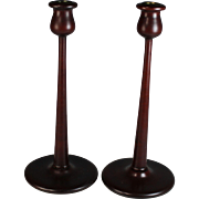 Pair of Mid Century Modern Mahogany Candle Sticks