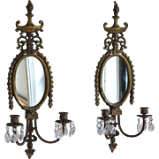 Two Antique Bronze Candle Sconces with Crystals