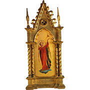 Antique Icon of Michael the Archangel in Gilded Cathedral Frame
