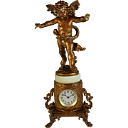 Antique Bronze Brass Garniture Clock with Cherub