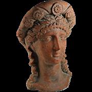 Antique Terra Cotta Roman Lady Head Sculpture with Head Dress