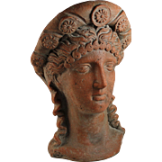 Antique Terra Cotta Roman Lady Head Sculpture with Head Dress
