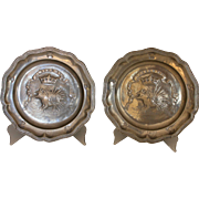 Pair Antique Pewter French Plates Ordre du Porc-Epic, Louis XII