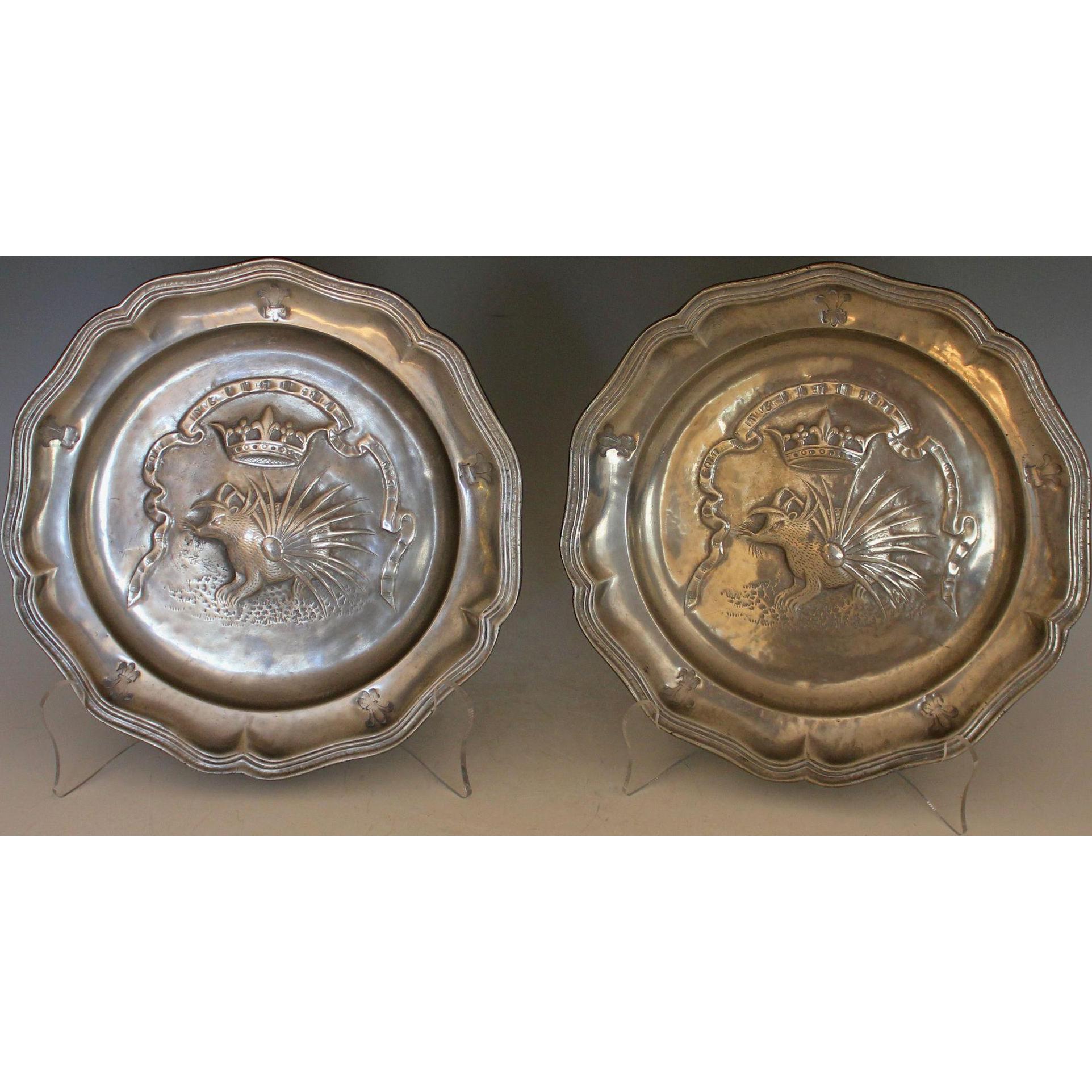 Antique Pewter Plates : Pair antique pewter french plates ordre du porc epic