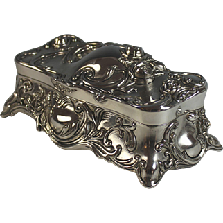 Ornate Vintage Silverplate Jewelry Box with Velvet Lining Silver Plate