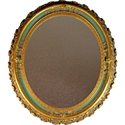 Antique Gilded Gesso over Wood Oval Mirror with Green Accent