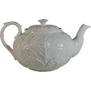 Coalport Countryware Teapot All White Leaf Pattern Bone China