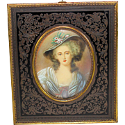 Antique Miniature Portrait of a French Lady Beautiful Frame