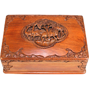 Fantastic Hand Carved Wood Box with Secret Lock