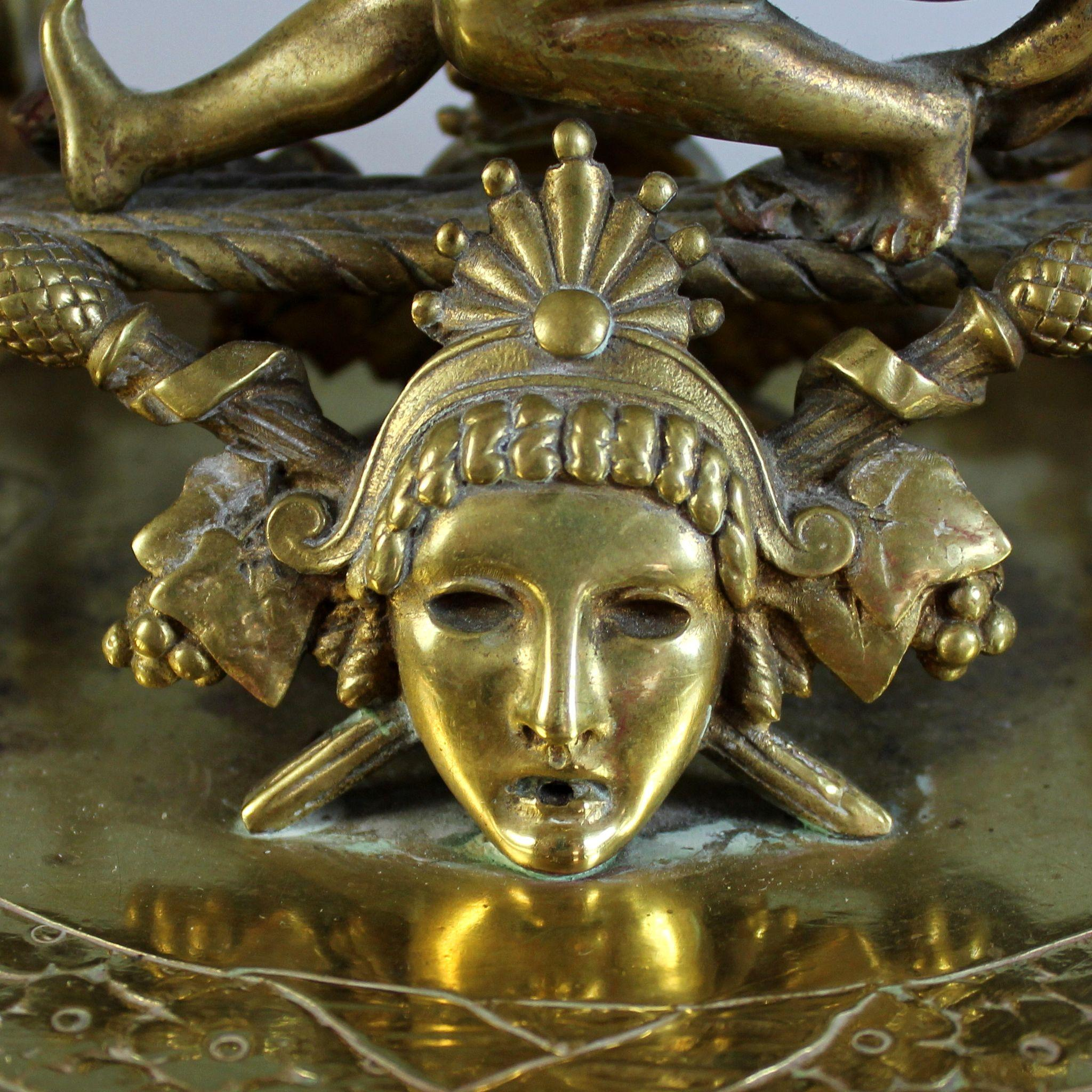 Antique Gilded Bronze Figural Inkwell With Dionysus