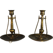 Pair of Antique Brass Ships Candle Holders