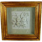 Antique Porcelain Sculpted Plaque Parian Ware in Shadow Box