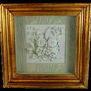 Antique Porcelain Sculpted Plaque Parian Ware in Shadow Box