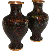 Pair of Vintage Cloisonne Vases with Floral Decor