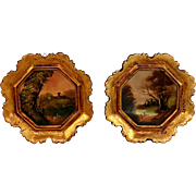 Pair of Hand-painted Italian Miniature Paintings, Landscapes