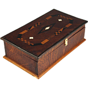 Arts & Crafts Style Inlaid Wood Desk Box