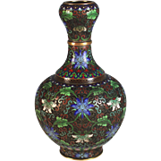 Chinese Cloisonne Champleve Well Shaped Vase Lotus Blossom B