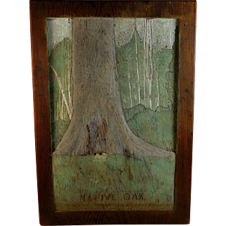 Relief Panel Woodcut Carving titled Native Oak