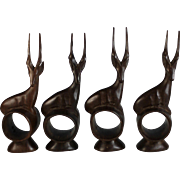 Four Mid Century Hand Carved Deer Napkin Rings