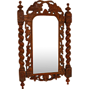 Antique Black Forest Mirror with Barley Twist Columns 23""