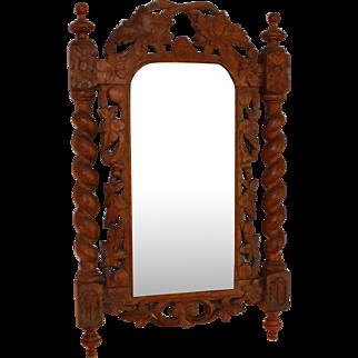 """Antique Black Forest Mirror with Barley Twist Columns 23"""""""