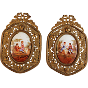 Set of Antique Porcelain Miniatures in Bow Top Frames Romantic Scenes