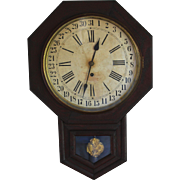 Antique Waterbury School Calendar Clock 8 Day 12 Inch