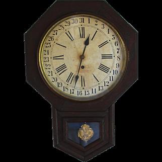 Antique Waterbury School Calendar Clock 8 Day 12 Inch