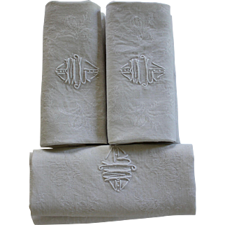 Set of Eight Antique French Linen Monogrammed Napkins Monogrammed + One