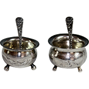 Set of Two Russian Sterling Silver Salts with Kirk & Sons Sterling Salt Spoons