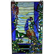 "Vintage Leaded Glass Panel with Peacock Glass in Lead 33"" by 19 1/2"""