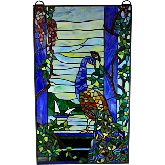 """Vintage Leaded Glass Panel with Peacock Glass in Lead 33"""" by 19 1/2"""""""