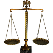 Vintage Scales of Justice Balance Scale Marble and Brass