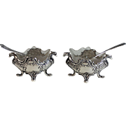 Pair of Antique 800 Si8lver Salts with Glass Liners, Sterling Spoons Griffin Detail