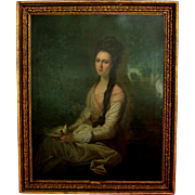 Oil on Canvas 18th C Portrait of a Lady inscribed by English artist Francis Wheatley (1747-1801)