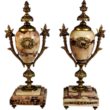 Pair of Antique French Bronze and Marble Garnitures Urns Arebescato Orobico Marble