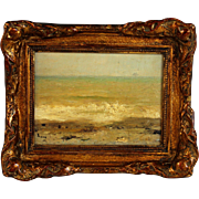 Impressionistic Seascape French School Oil Painting signed Roux