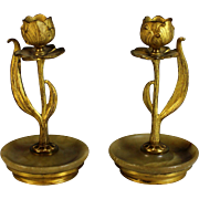 Set of Gilded Bronze Art Nouveau Candle Holders
