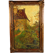 "Oil on Board oil Painting by French listed artist Anna Devaux-Raillon (1891-1968) titled ""La Maison de Ponsard""."