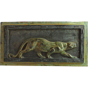 Art Deco Bronze Plaque of a Panther Signed L. Carvin (1860-1951)