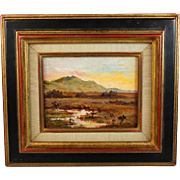 Oil on board Impressionistic Landscape by J. Franc