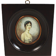 Antique Hand-Painted Miniature Portrait of a Young Lady