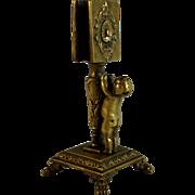 Antique Bronze Matchbox Holder with Small Putti