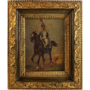 "Oil Painting of a French Cavalryman titled ""5th Cuirassier 1812"" monogrammed"