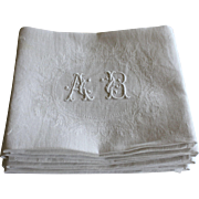 Eight Antique French Linen Monogrammed Napkins A B