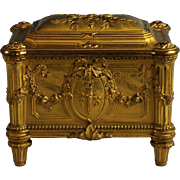 Antique Napoleon III Gilt Bronze Casket Box